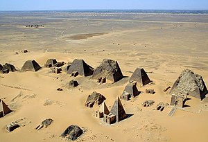 Aerial view of the Nubian pyramids at Meroe in...