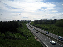 A picture of the A34 road - Newbury bypass sec...