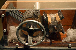 A cotton gin on display at the Eli Whitney Museum.