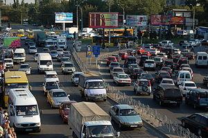 Traffic jam on Okipnoj str in Kyiv