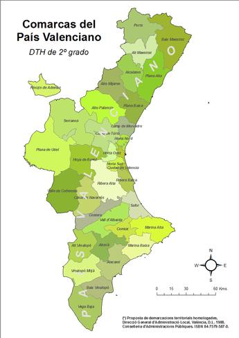 Demarcaciones territoriales definidas por la Generalidad Valenciana