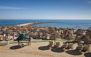 The beach in Marbella in the Costa Del Sol, Spain.