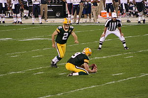 Mason Crosby kicks a field goal during a Green...
