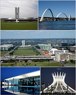 Từ phía trên bên trái: Tòa nhà Quốc hội Cộng hòa Liên bang Brasil, Cầu Juscelino Kubitschek, Monumental Axis, Palácio da Alvorada và Nhà thờ chính tòa Brasília.