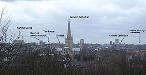 Norwich UK city skyline, taken from Mousehold ...