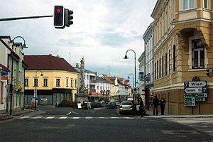 Deutsch: Poysdorf: Blick auf Brünner Straße un...