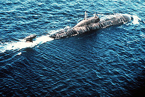 Akula class submarine starboard quarter view