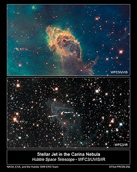 Two alternate Hubble Space Telescope views of the Carina Nebula, comparing visible (top) and infrared (bottom) astronomy