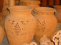 English: pots made of clay.