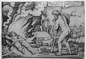 «Hercules on his funeral pyre», engraving