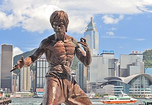Sculpture of Bruce Lee at the Avenue of Stars,...