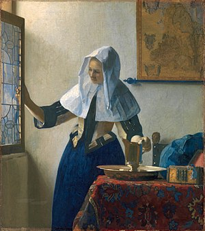 Domestic interior by Jan Vermeer showing a lea...