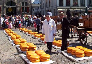 Wheels of Gouda cheese on sale at Gouda's chee...