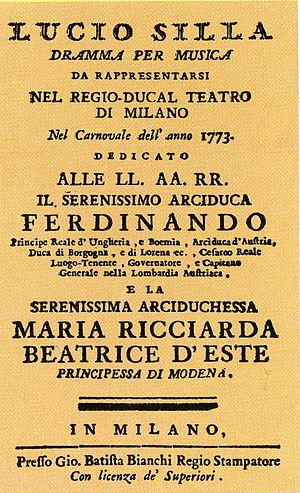 Libreto da ópera Lucio Silla, de Mozart