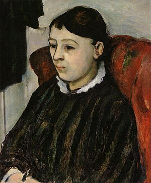 English: Portrait of Madame Cezanne in a Strip...