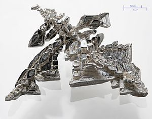 A pure (>99.95%) silver crystal, synthetic ele...
