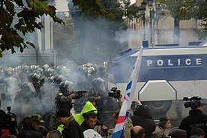 Protesters clash with riot police on November ...