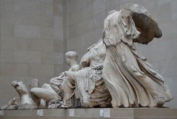 The Parthenon sculptures, an oblique view of the sculptures from the East Pediment, Acropolis, Athens, 438-432 BC, British Museum (14226861946)