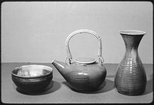 """Porcelain bowl, teapot, and vase"" -..."