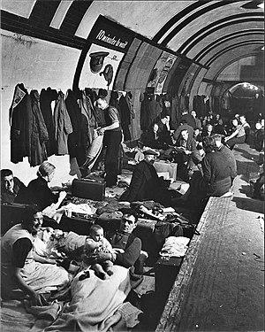 An Air raid shelter in a London Underground st...