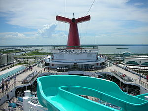Water Slide on the top level of boat.