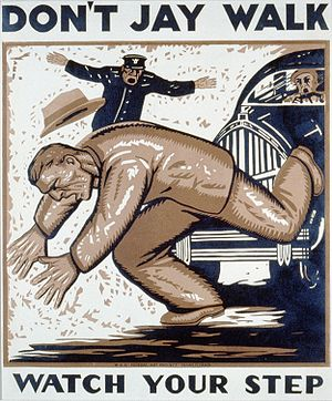English: Color woodcut poster showing a man be...