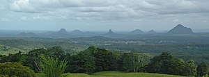 Glass House Mountains viewed from Mary Cairncr...