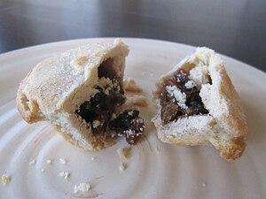 Mince pie cut in half.