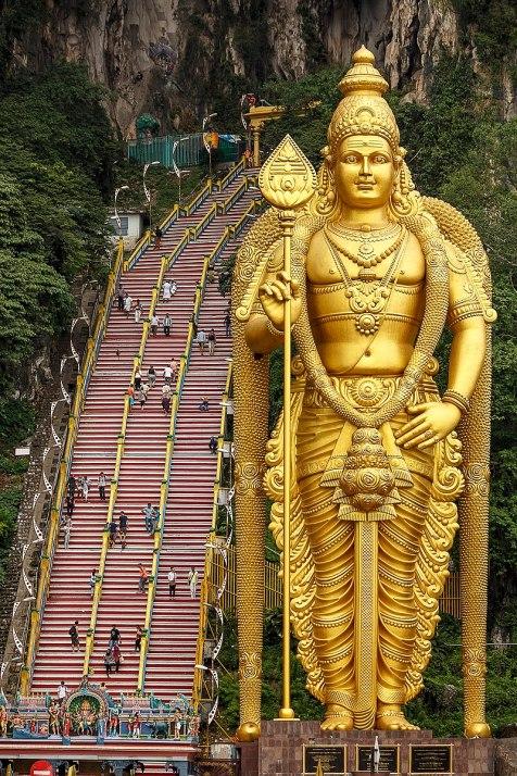 Huge golden statue of a god
