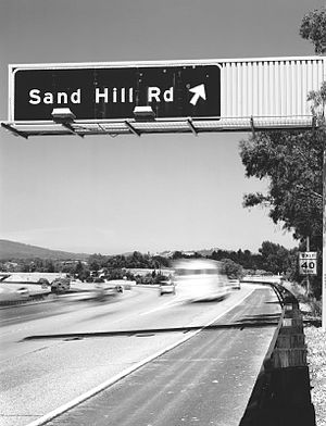 """Sand Hill Road sign from 280 north. """"KTVC..."""
