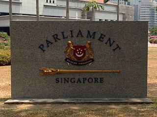 Sign in front of Parliament House, Singapore