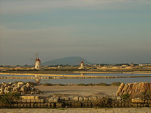 Salt evaporation ponds at Marsala, Sicily Deut...