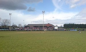 The main stand at Woodford...