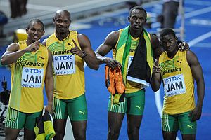 English: Jamaica 4x100 m at the World Champion...