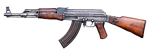 The AK-47 was first adopted in 1949 by the Sov...
