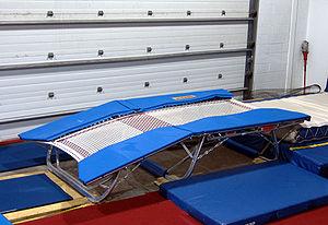 English: Photograph of a Double mini trampolin...