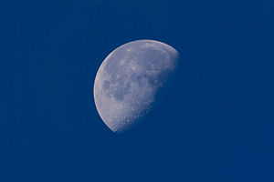 The moon as seen during the day. The moon can ...