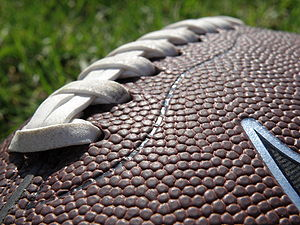 surface of an American football ball.