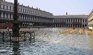 Venice: acqua alta in Piazza San Marco.