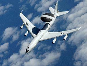 English: An E-3 Sentry AWACS flies a mission f...