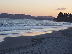 Sunset photo of Butterfly Beach in Santa Barba...