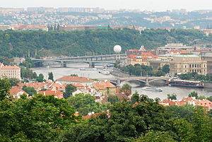 English: Vltava River in Prague, seen from Pet...