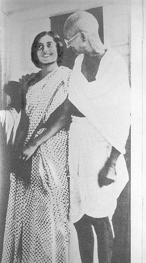 Mohandas K. Gandhi and Indira Gandhi, future P...