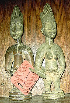 Photograph of a pair of ibeji twin figures, au...