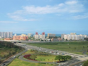 The skyline of Isla Verde in Puerto Rico, as s...