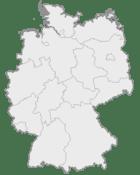 Mapa da Alemanha, posição de Herne acentuada