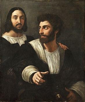 Portrait de l'artiste avec un ami, by Raffaello Sanzio, from C2RMF retouched.jpg