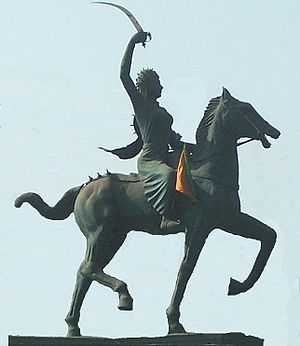 Equestrian statue of Jhansi Maharani Laxmi Bai...