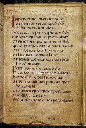 Start of the Gospel of St John in the St cuthb...