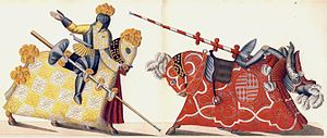 English: Two knights jousting, one falling Deu...